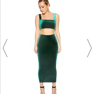 naked wardrobe Skirts - Hunter Green velvet set